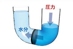 ROフィルターによる水の流れ